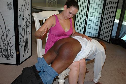 Interracial spanking